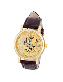 Retro Coffee&gold Color Roman Numerals Decorated Hollow Out Design