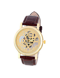 Bardian Coffee&gold Color Roman Numerals Decorated Hollow Out Design Alloy Men's Watches