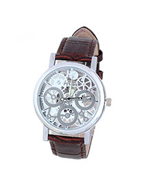 Bardian Coffee&silver Color Gear Pattern Decorated Hollow Out Design Alloy Men's Watches