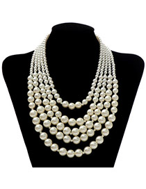 Sweet Begie Pearl Decorated Multilayer Design  Pearl Fashion Necklaces