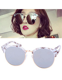 Temperamental Coffee Half Frame Simpledesign Plastic Women Sunglasses