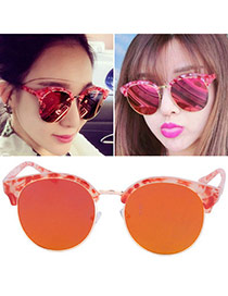 Temperamental Red Half Frame Simpledesign Plastic Women Sunglasses
