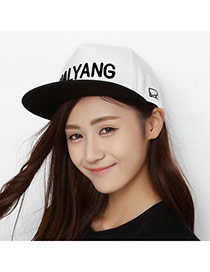 Fashion White+black Embroidered Letters Halyang Simple Design