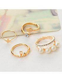 Fashion Gold Color Letter Love Decorated Multi-element Design  Alloy Korean Rings