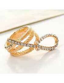 Fashion Gold Color Bow Tie Decorated Multilayer Design  Alloy Korean Rings