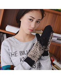 Fashion Purple Hedgehog Shape Simple Design Woolen Full Finger Gloves
