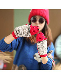 Fashion Red Hedgehog Shape Simple Design  Woolen Full Finger Gloves