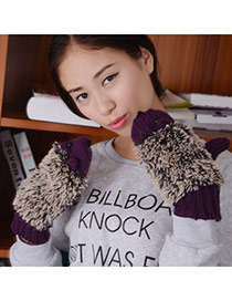 Fashion Black Hedgehog Shape Simple Design Woolen Full Finger Gloves