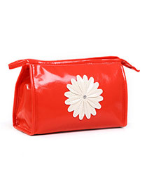 Fashion Red Sunflower Decorated Pure Color Design Pu Home Storage Bags