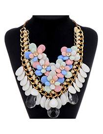 Sweet Multicolor Flower Decorated Weave Tassel Design Alloy Fashion Necklaces