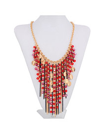Fashion Red Beads Decorated Tassel Design Alloy Bib Necklaces