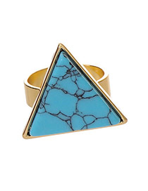 Personality Green Stone Decorated Trilateral Design