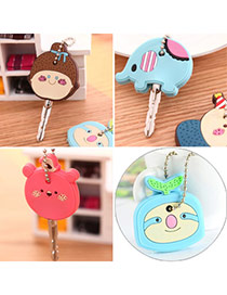 Sweet Blue Sloth Shape Decorated Simple Design  Silicon Fashion Keychain