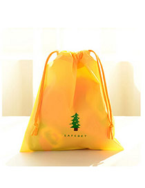 Trendy Yellow Tree Pattern Decorated Simple Design(small) Pe Home Storage Bags