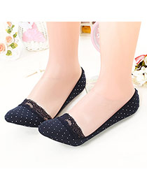 Sweet Navy Blue Dots Pattern Decorated Lace Design  Cotton Fashion Socks