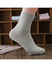 Classic Light Gray Thick Pure Color Simple Design  Cotton Fashion Socks