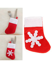 Personalized Red+white Snowflake Decorated Socks Shape Design