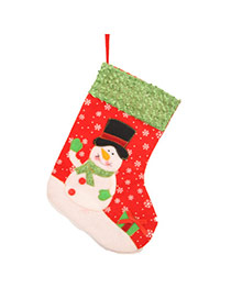 Personalized Red Snowman Pattern Decorated Socks Shape Design