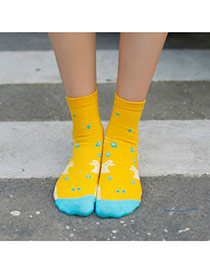 Lovely Yellow Thick Bat Pattern Decorated Simple Design  Cotton Fashion Socks