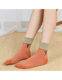 Lovely Orange Thick Cat Pattern Decorated Color Matching Design  Cotton Fashion Socks