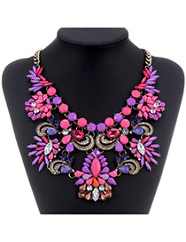 Luxurious Purple+plum Red Gemstone Decorated Flower Design Alloy Bib Necklaces