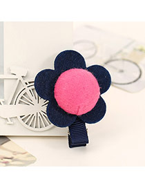 Sweet Navy Blue+plum Red Sunflower Decorated Simple Design  Fabric Kids Accessories