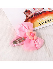 Sweet Pink Flower Decorated Bowknot Design  Fabric Kids Accessories