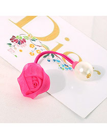 Cute Plum Red Pearl Decorated Flower Design