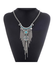 Retro Antique Silver+green Diamond Decorated Tassel Design Alloy Bib Necklaces