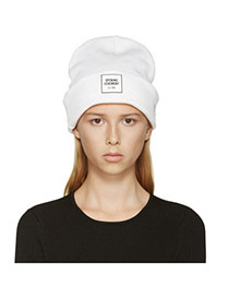 Casual White Letters Opening Ceremony Decorated Pure Color Design Wool Knitting Wool Hats