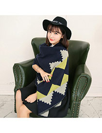Fashion Yellow Square Pattern Simple Design  Imitation Cashmere knitting Wool Scaves