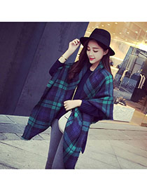 Fashion Green+blue Grid Pattern Simple Design  Woolen Yarn knitting Wool Scaves