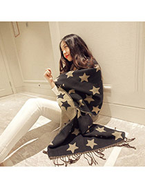 Fashion Black Star Pattern Tassel Design  Imitation Cashmere knitting Wool Scaves