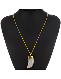 Personality White Machete Shape Stone Pendant Decorated Simple Design Alloy Chains