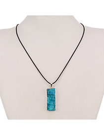 Personality Blue Rectangle Stone Pendant Decorated Simpledesign