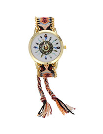 Retro Brown+black Feather Pattern Decorated Weave Tassel Design  Alloy Ladies Watches