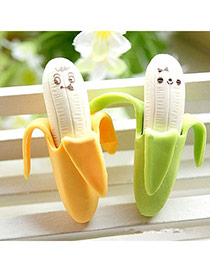Personality Yellow+green Smiling Face Pattern Decorated Banana Shape Design Pvc Other Creative Stationery