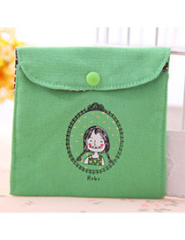 Personality Green Little Girl Pattern Decorated Simple Design
