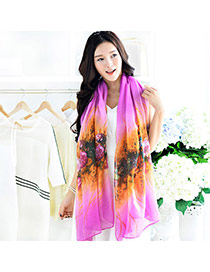 Pretty Purple Flower Pattern Decorated Gradient Design  Cotton Thin Scaves