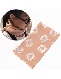 Pretty Light Pink Daisy Pattern Decorated Simple Design  Cotton Thin Scaves