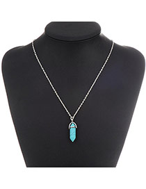 Fashion Blue Bullet Pendant Decorated Simple Design Alloy Chains