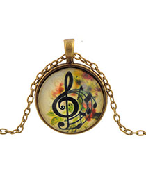 Retro Multi-color Round Shape Pendant Flower&music Notation Pattern Design