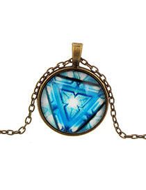 Retro Blue Round Shape Pendant Triangle Pattern Design