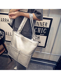 Personality Silver Color Pocket Decorated Bucket Shape Design  Pu Handbags