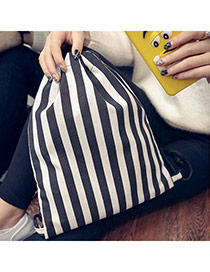 Personality White+black Stripe Decorated Simple Design  Canvas Backpack