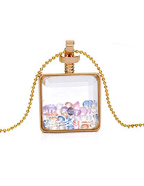 Elegant Multi-color Diamond Decorated Square Perfume Bottle Pendant Design Alloy Chains