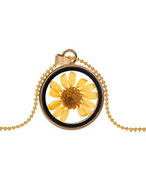 Elegant Yellow Sunflower Pattern Decorated Round Shape Perfume Bottle Pendante Design Alloy Chains
