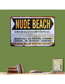 Nostalgic Gray Letter Nude Beach Decorated Metal Painting Iron Household goods
