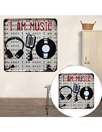 Nostalgic Gray Microphone & Letter Pattern Decorated Metal Painting Iron Household goods