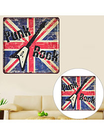 Nostalgic Red+black+blue Letter & Guitar Pattern Decorated Metal Painting Iron Household goods